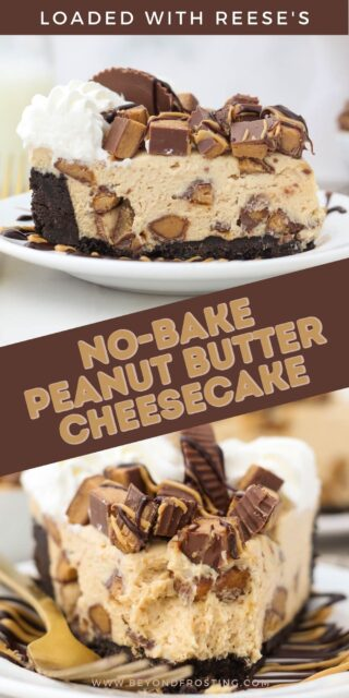 two pictures of a slices of peanut butter cheesecake with text overlay