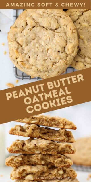 Two images of peanut butter oatmeal cookies with a brown text overlay