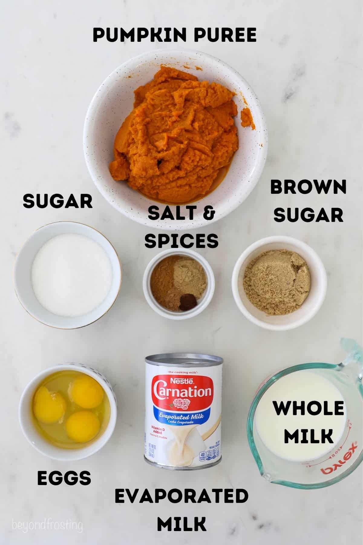 All of the ingredients to make this pumpkin pie, except for the crust.
