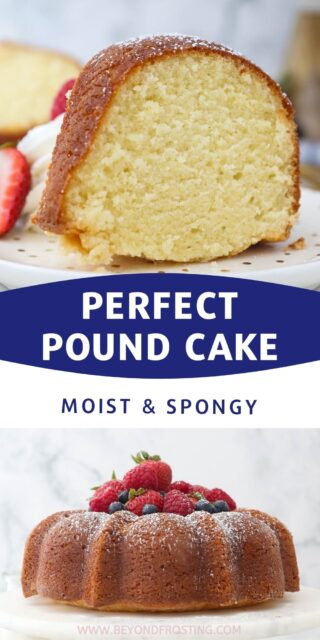 two images of pound cake, one of the whole cake and one of a slice with a text overlay