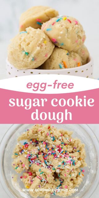 Two photos of sugar cookie dough with a text overlay