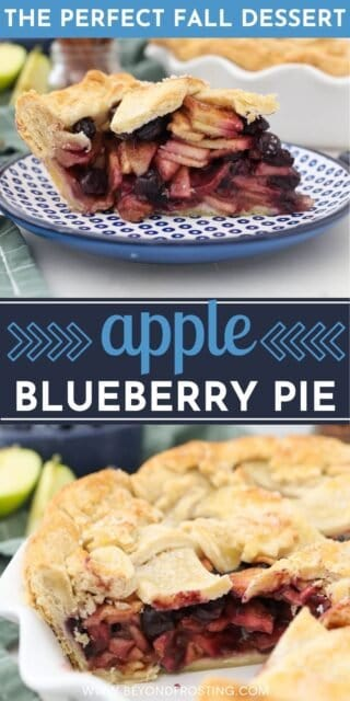 two photos of Apple blueberry pie with a text overlay