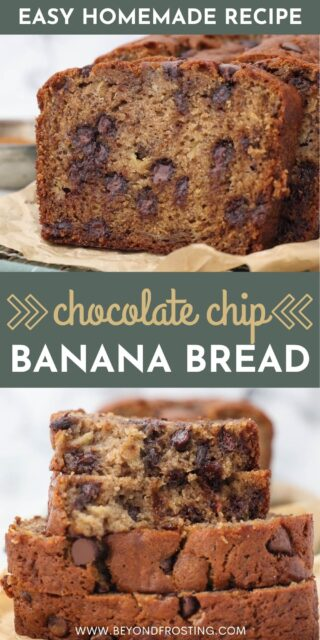 Two images of banana bread with a text overlay