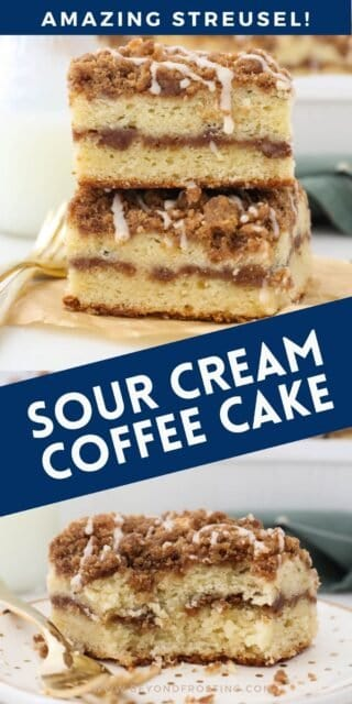 Two images of coffee cake with text overlay