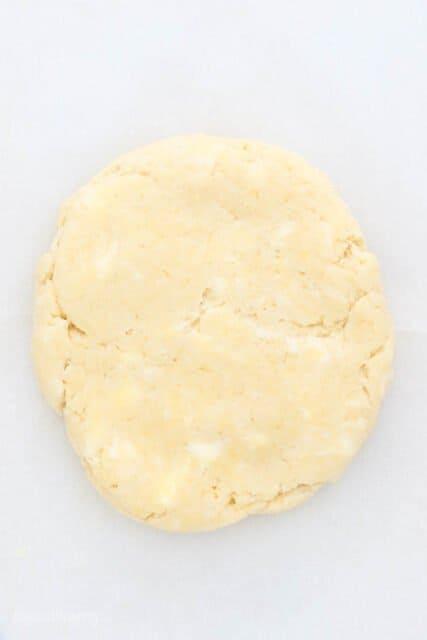A disc of homemade butter pie dough