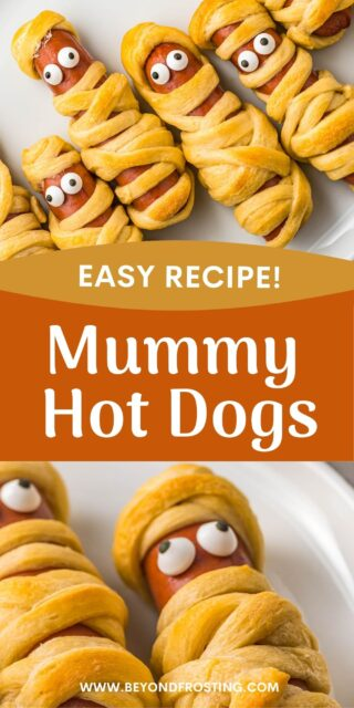 two images of mini hot dogs wrapped in dough to look like a mummy, with two candy eyes. Text overlay on top