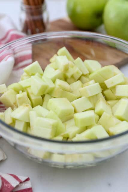 diced apples in a bowl