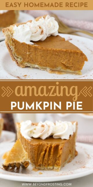 Two images of pumpkin pie and whipped cream with a text overlay