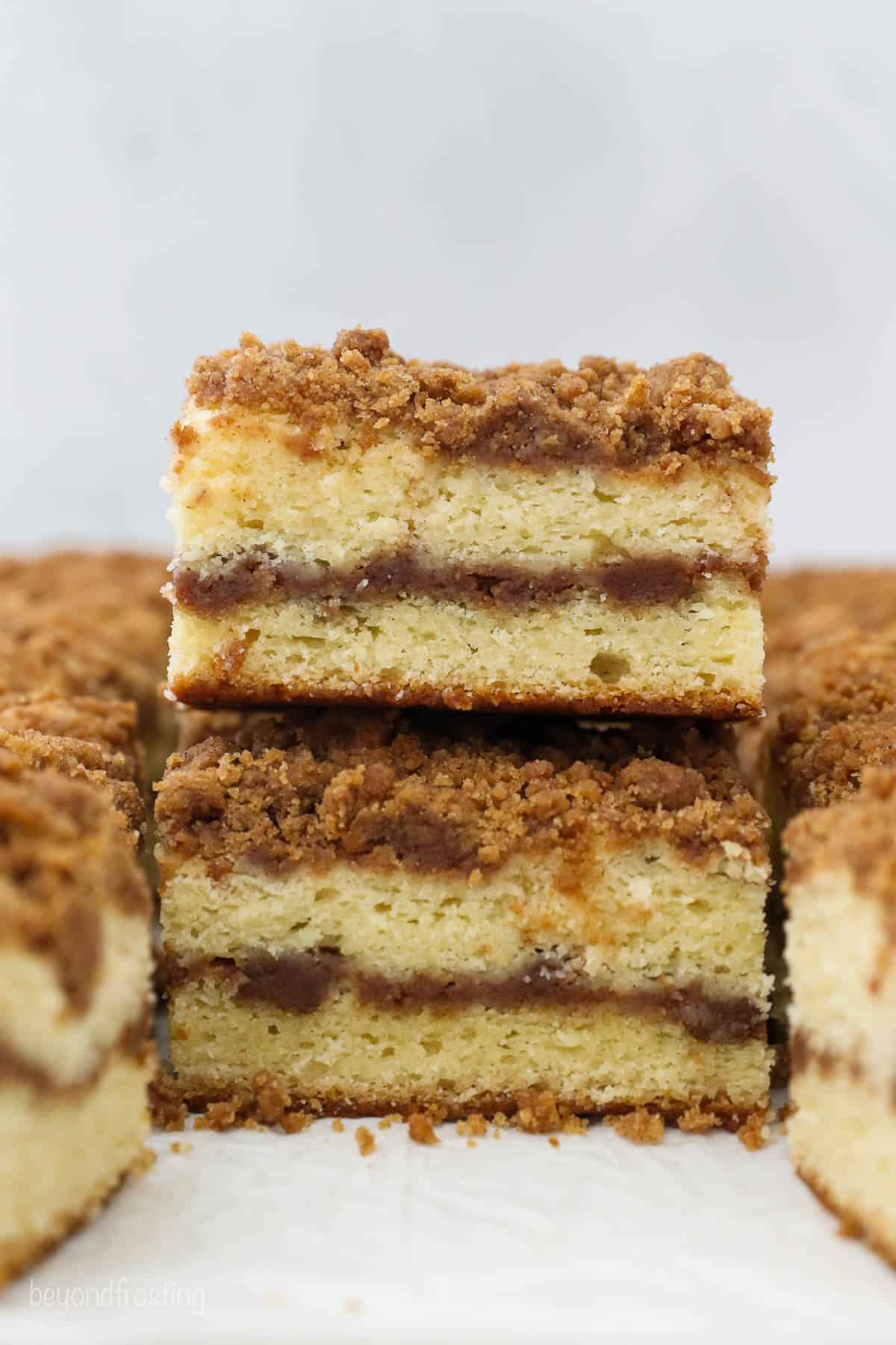 Stacked sliced of layered coffee cake