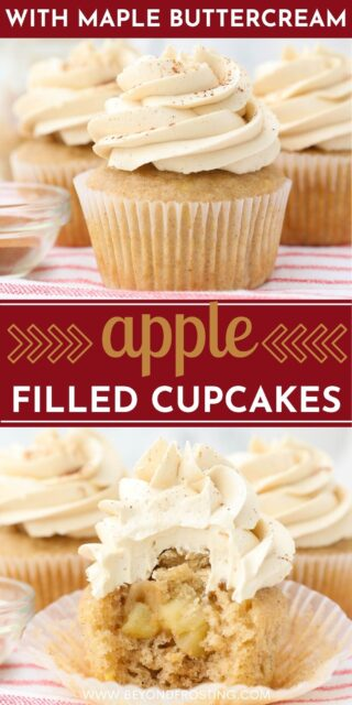 """two pictures of apple pie cupcakes titled """"apple filled cupcakes with maple buttercream"""""""