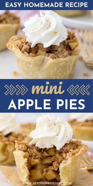 Two photos of mini apple pies with a text overlay