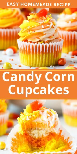 Two images of a candy corn cupcake with text overlay