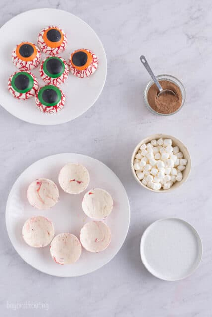 Step by step showing how to fill a hot chocolate bomb
