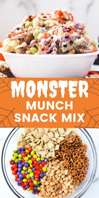 Two photos of a candy coated halloween snack mix with a text overlay