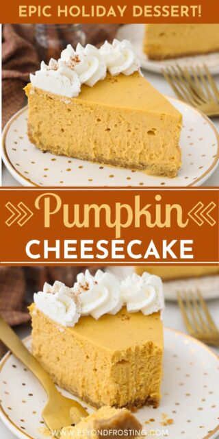 two pictures of pumpkin cheesecake on a gold polka dot plate with a text overlay
