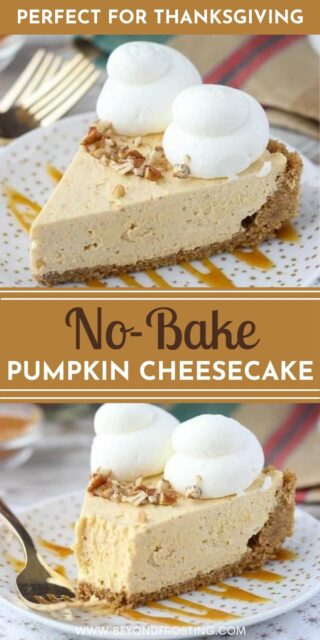 Two photos of sliced pumpkin cheesecake with a text overlay